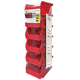 Quantum RQUS210BL Storage Stack and Hang Bin, Plastic, Red