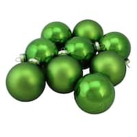 "9-Piece Shiny and Matte Grass Green Glass Ball Christmas Ornament Set 2.5"" (65mm)"