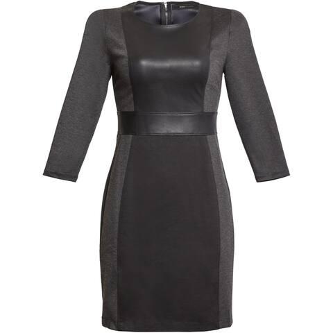BCBGMAXAZRIA Womens Faux Leather Trim Mixed Media Mini Dress - Charcoal Combo