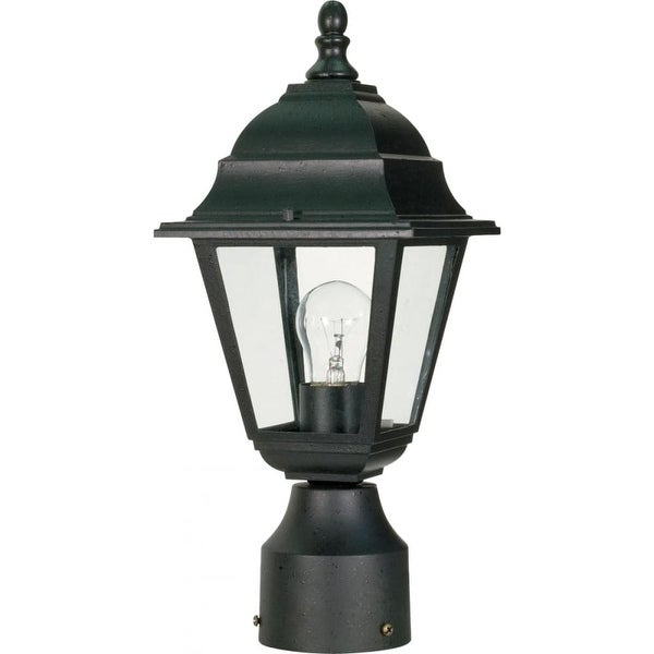 "Nuvo Lighting 60/548 Briton 1-Light 6"" Wide Landscape Single Head Post Light with Clear Glass Shade - Textured Black - N/A"