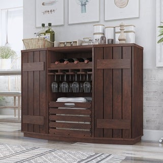Link to Furniture of America Lath Rustic Walnut Solid Wood Shelf Server Similar Items in Dining Room & Bar Furniture