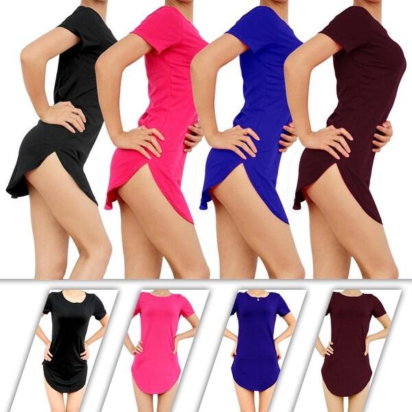 Womens Side Slit Short Sleeve Long Tunic Tops