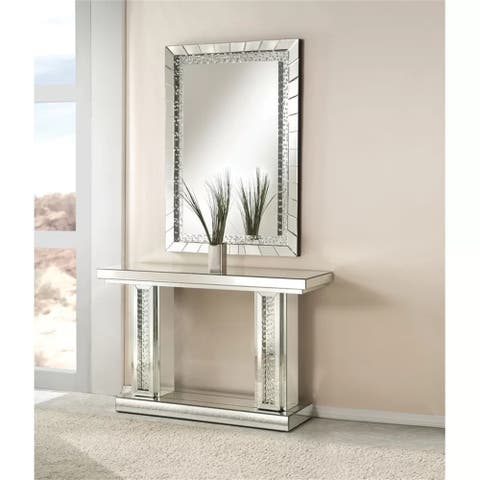 "ACME Nysa Console Table in Mirrored & Faux Crystals table - 7'6"" x 10'9"""