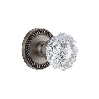 "Grandeur NEWVER_PRV_234  Newport Solid Brass Rose Privacy Door Knob Set with Versailles Crystal Knob and 2-3/4"" Backset"