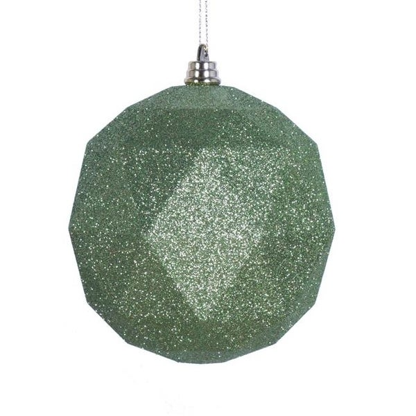 lime glitter geometric christmas ornament ball