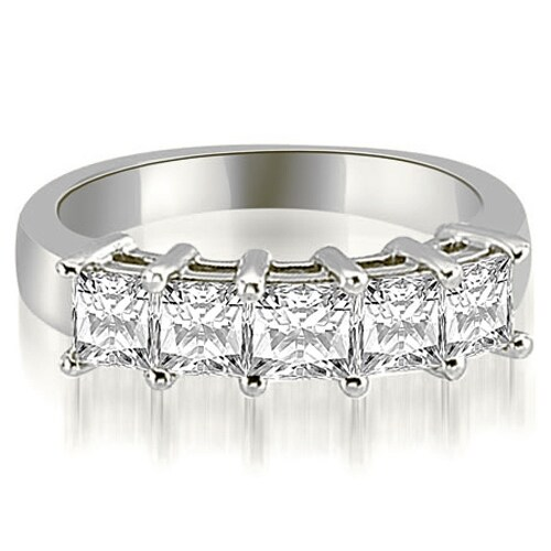 1.00 cttw. 14K White Gold Princess Diamond 5-Stone Prong Wedding Band,HI,SI1-2