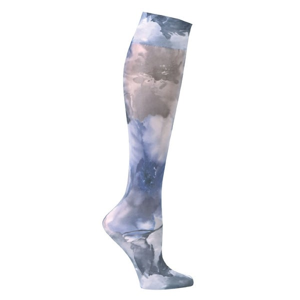 Women's Printed Mild Compression Wide Calf Knee High Stockings - Blue Watercolor Flowers