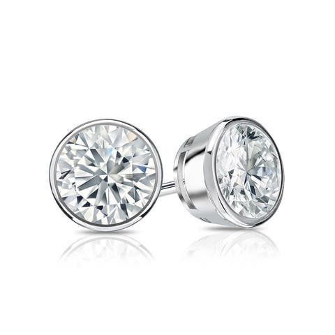 Auriya 18k Gold Bezel-set Diamond Stud Earrings 1ctw GIA Certified