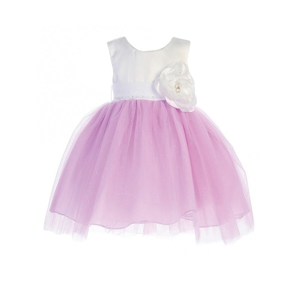 05ad59420493 Shop Little Girls Lilac White Floral Accented Glitter Tulle Flower Girl  Dress - Free Shipping Today - Overstock - 18174322