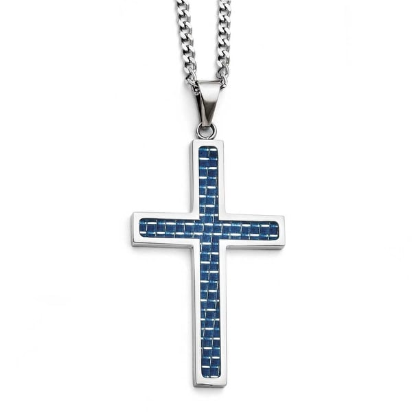 Chisel Stainless Steel Blue Carbon Fiber Inlay Polished Large Cross Necklace (3 mm) - 22 in