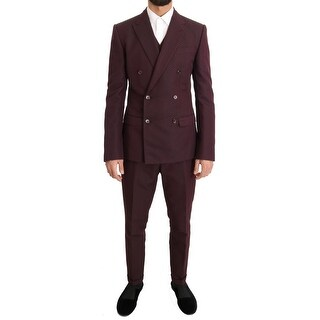 Dolce & Gabbana Dolce & Gabbana Bordeaux Slim 3 Piece Double Breasted Suit - it48-m
