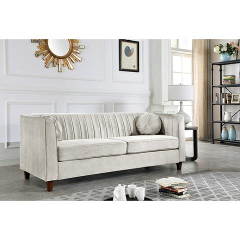 Arvilla Velvet Kitts Classic Chesterfield Sofa