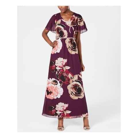 SLNY Womens Purple Floral V Neck Maxi Evening Dress Size 8
