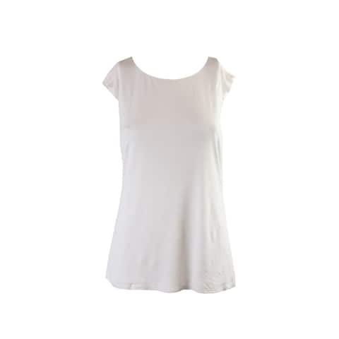 Lauren Ralph Lauren Cream Cap-Sleeve Cutout Back Jersey Top L