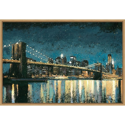 Bright City Lights Blue I by James Wiens Framed Canvas Art