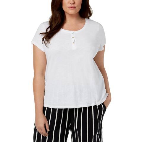 Eileen Fisher Womens Plus Henley Top Organic Cotton Sheer - 3X
