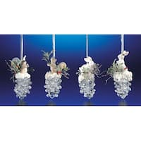 """Club Pack of 16 Icy Crystal Christmas Squirrel & Rabbit Pinecone Ornaments 3.6"""" - CLEAR"""