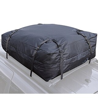 Car Roof Rack Bag - Roof Top Cargo Bag for Cars Vans SUVs + Non Slip Roof Mat & Storage Bag (15 Cubic Feet) For Cars with Rack