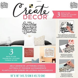 "Dcwv Create Decor Self-Adhesive Lettering & Stencil 18""X18""-Every Love Story Is Beautiful...Black"