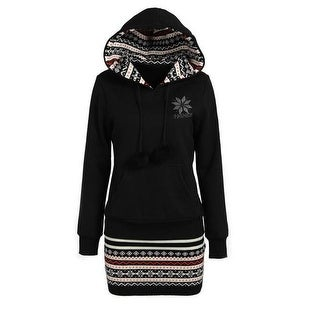 Unique Bargains Women's Hooded Printed Tunic Sweatshirt Black (Size M / 8)