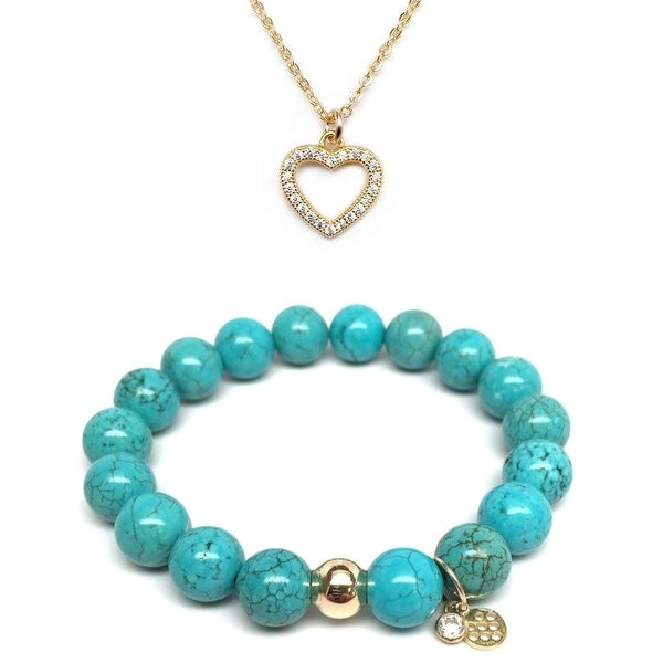 Turquoise Magnesite Bracelet & CZ Heart Gold Charm Necklace Set