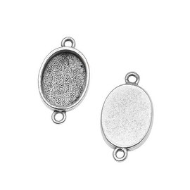 Nunn Design Antiqued Silver Plated Bezel Pendant Oval Link 14mm