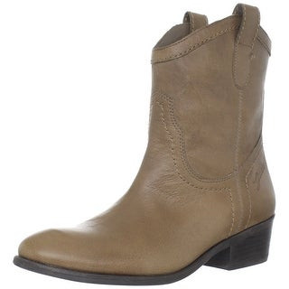 GUESS Womens Gennette Leather Almond Toe Ankle Cowboy Boots