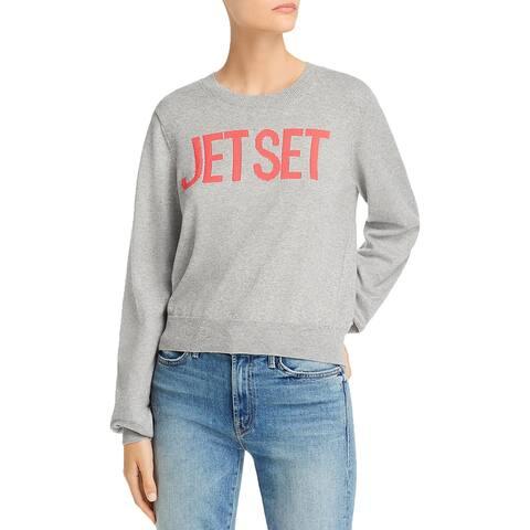 Joie Womens Zalie Crewneck Sweater Graphic Cashmere - Heather Grey