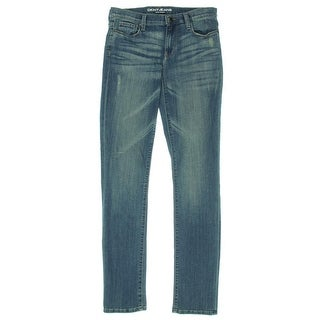 DKNY Jeans Womens Soho Distressed Mid-Rise Skinny Jeans