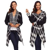 Womens  Cardigans Sweater Irregular Plaid Fashion Open Front Long Sleeve Cardigans Sweater Outwear