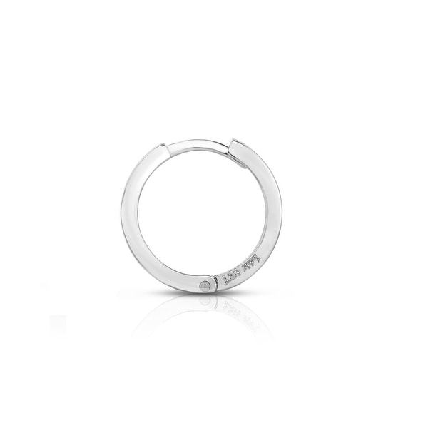 Mcs Jewelry Inc 14 KARAT WHITE GOLD UNISEX SINGLE HOOP EARRING (DIAMETER: 13MM)