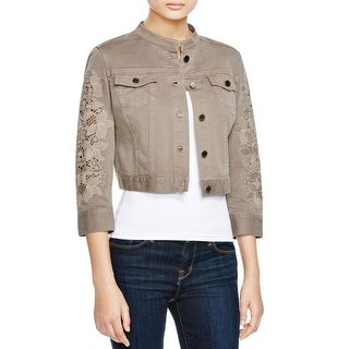 Elie Tahari Womens Julia Cropped Jacket Embroidered 3/4 Sleeves