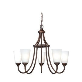 Vaxcel Lighting H0053 Lorimer 5 Light Single Tier Chandelier with Frosted Glass Shades - 26 Inches Wide