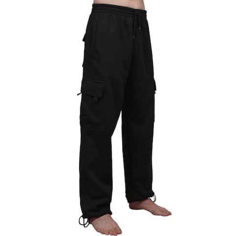 NE PEOPLE Mens Comfy Elastic Drawstring Fleece Cargo Sweat Pants