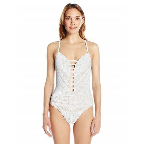 Bleu Rod Beattie Women's Sneak Peek Crochet Plunge Halter One-Piece Swimsuit, White (14)
