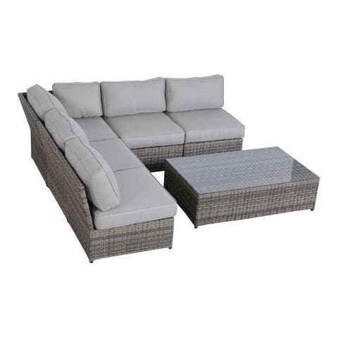 6 Piece Rattan Sectional Seating Group with Cushions