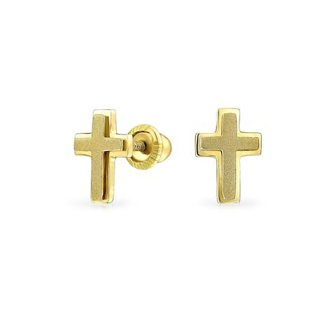 Tiny Minimalist Religious Christian Heart Cross Stud Earrings For Women For Teen Real 14K Gold Screwback