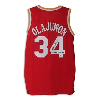 "Hakeem Olajuwon Houston Rockets Autographed Red Jersey Inscribed ""2X NBA Finals MVP"""