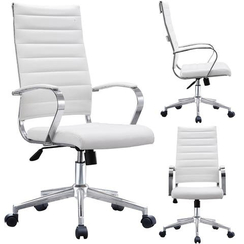 4d8e9f394 2xhome Modern White High Back Office Chair Ribbed PU Leather Manager Tilt  Conference Room Computer Desk
