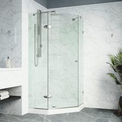 VIGO Frameless Self-Closing Neo-Angle 3/8-Inch Clear Shower Enclosure with White Base