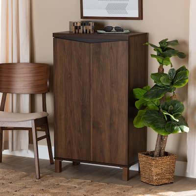 Talon Modern and Contemporary 2-Door Wood Storage Cabinet-Walnut Brown