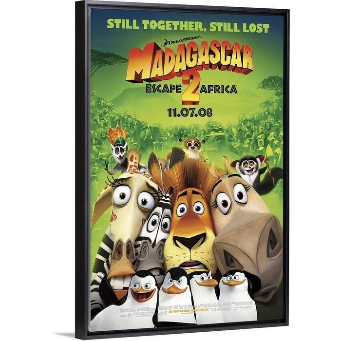 Shop Madagascar Escape 2 Africa Movie Poster Black Float Frame Canvas Art Overstock 25520421