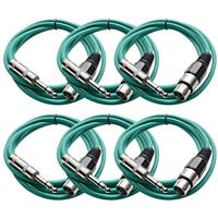 """Seismic Audio SEISMIC (6) Green 1/4"""" TRS - XLR Female 6' Patch Cables"""