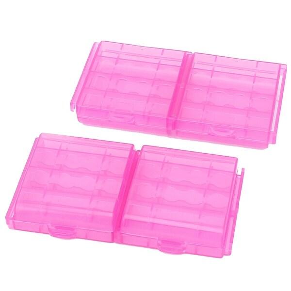4PCS Plastic Portable Case Holder Storage Box Purple for 4 x 1.5V AA Batteries