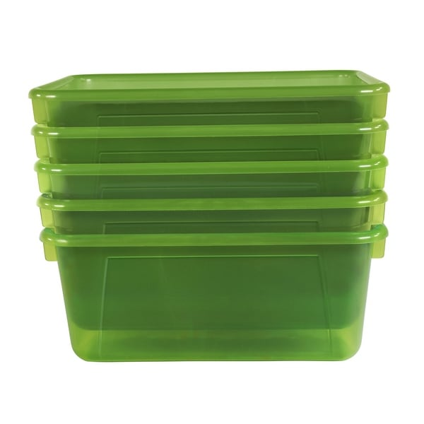School Smart Translucent Cubby Bin, Small, 12 x 8 x 5 Inches, Candy Green, Pack of 5