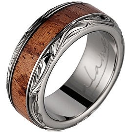 Titanium Wedding Band with Pink Ivory wood Inlay & Leaf Designed Edges 8mm