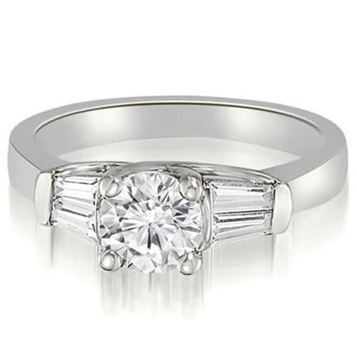 1.00 cttw. 14K White Gold 3-Stone Round And Baguette Diamond Engagement Ring
