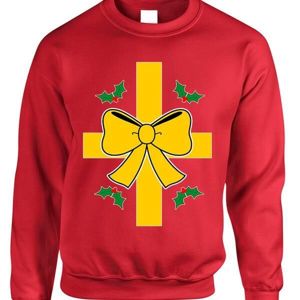 Ugly Christmas Sweater Funny.Adult Sweatshirt Christmas Gift Wrap Ugly Xmas Sweater Funny