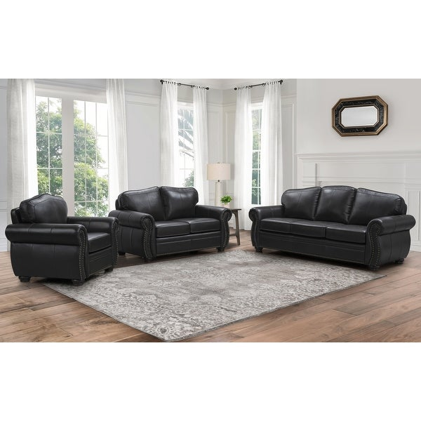 Abbyson Richfield Brown Top Grain Leather 3 Piece Living Room Sofa Set. Opens flyout.