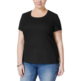 Karen Scott Womens Plus Casual Top Solid Short Sleeves